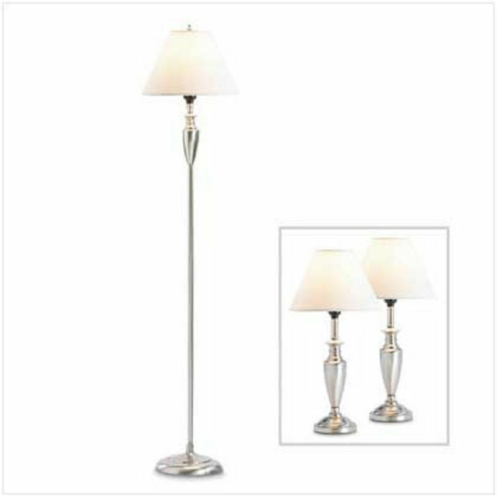 SET OF 3 CONTEMPORARY 1 FLOOR LAMP PLUS 2 TABLE OR DESK ...