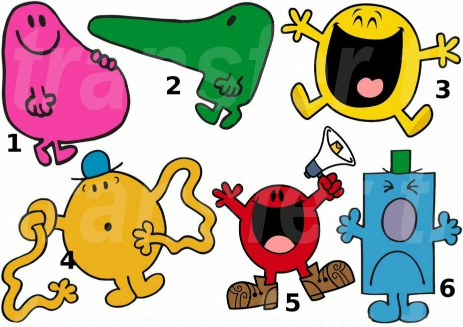 mr men sticker wall decal or iron on transfer tshirt. Black Bedroom Furniture Sets. Home Design Ideas