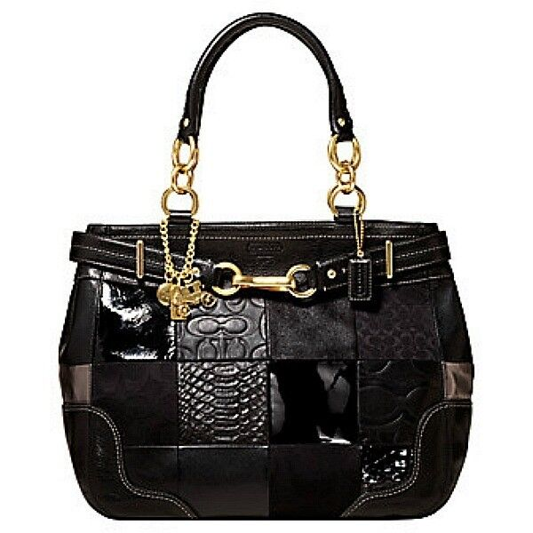 EUC COACH HAMPTONS BLACK PATCHWORK LEATHER CARRYALL TOTE ...