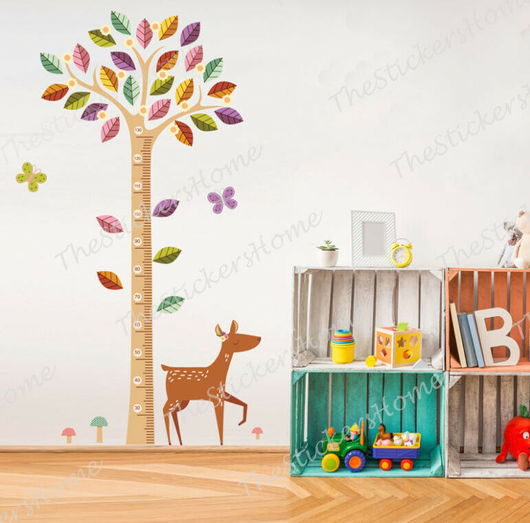 WOODLAND TREE & DEER Wall Decal Stickers Height Chart ...