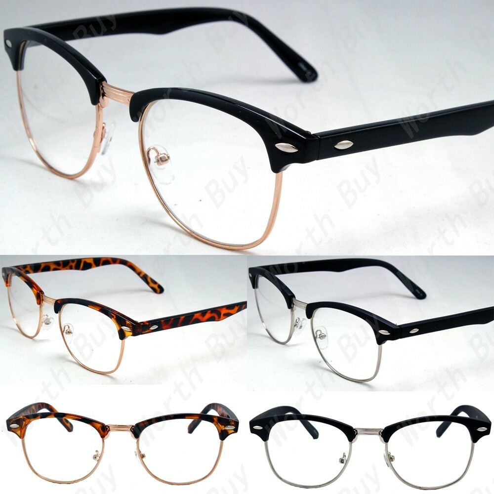 Half Frame Fake Glasses : New Designer Retro Clear Lens Nerd Frames Glasses Mens ...