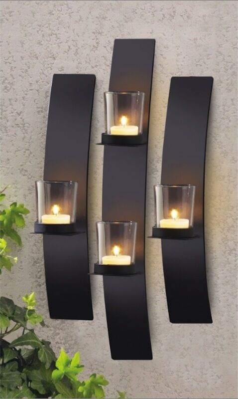 Wall Mounted Candle Lights : Set 3 Modern Black Metal Wall Mount Tea Light Candle Holder Sconce eBay