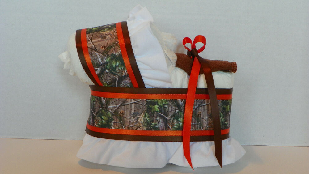 hunting camo camouflage boy diaper bassinet baby shower table