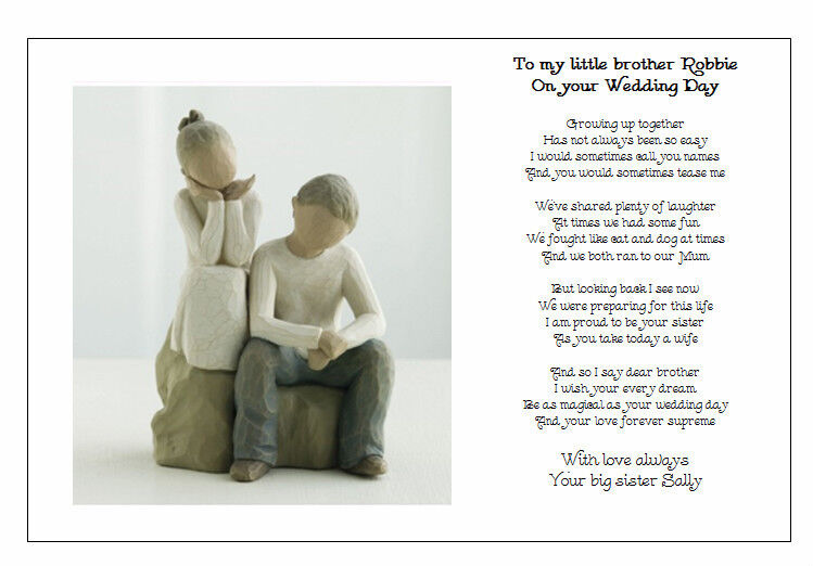 ... Wedding Day Poem Gift - TO MY BROTHER on your Marriage/Wedding eBay
