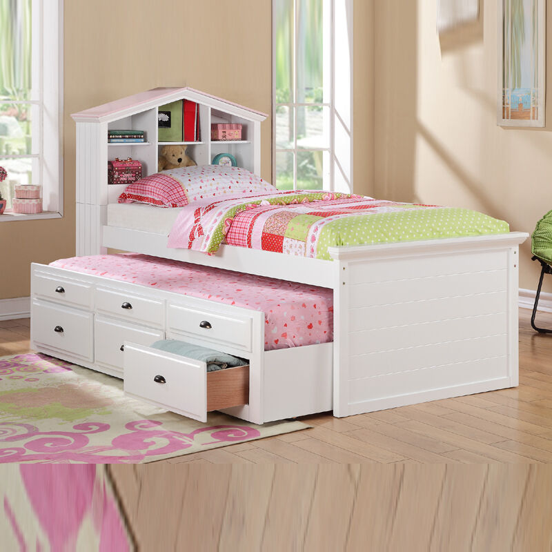 white girls kids house shaped bookcase headboard combo