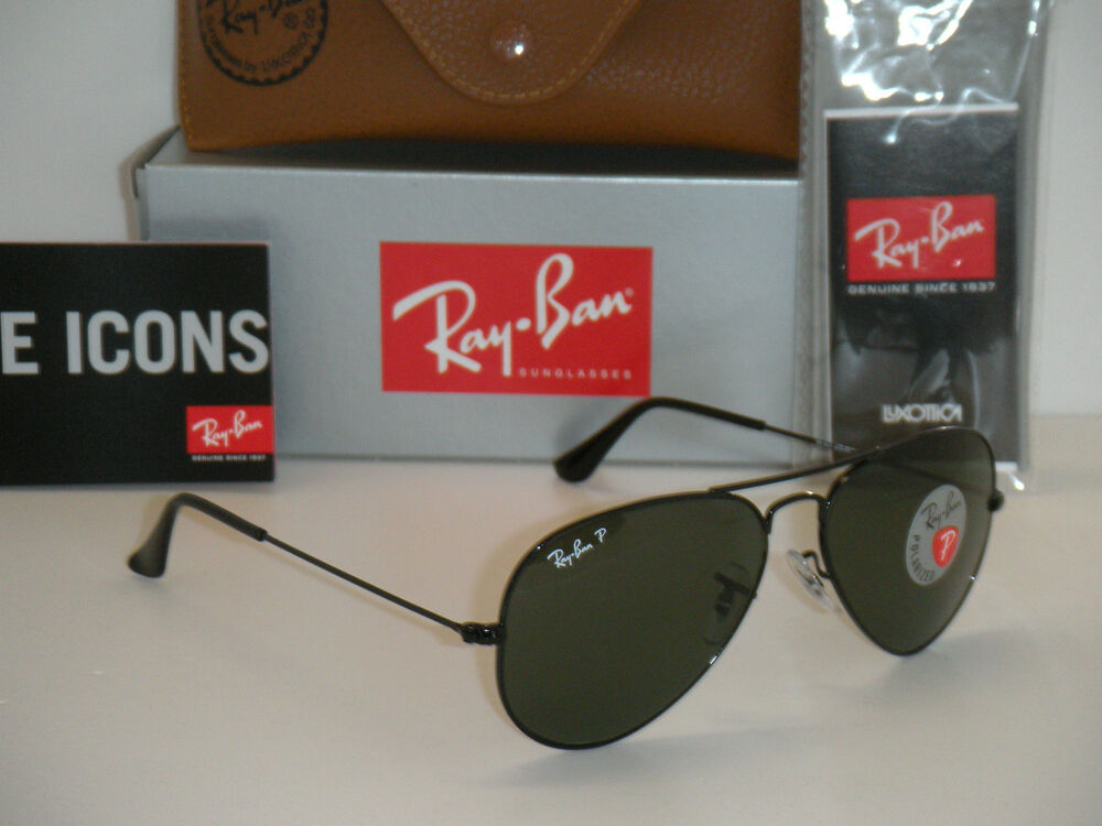 aviator ray ban rb3025  RAY BAN AVIATOR POLARIZED BLACK FRAME W/ NATURAL GREEN RB 3025 002 ...