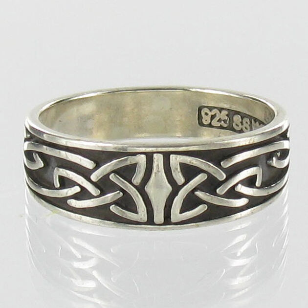 celtic ring sterling silver band knot wedding