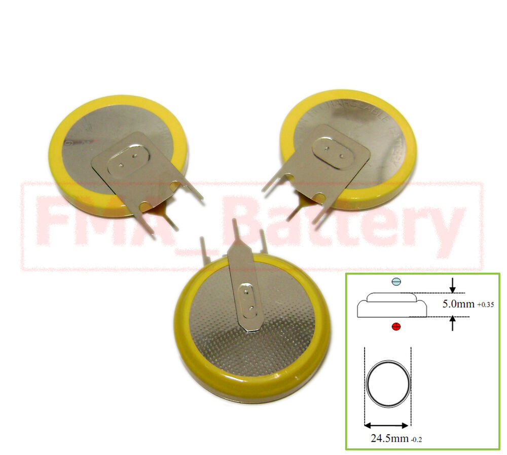2x Rechargeable Li-ion Battery Button/Coin Cell 3.6V ...