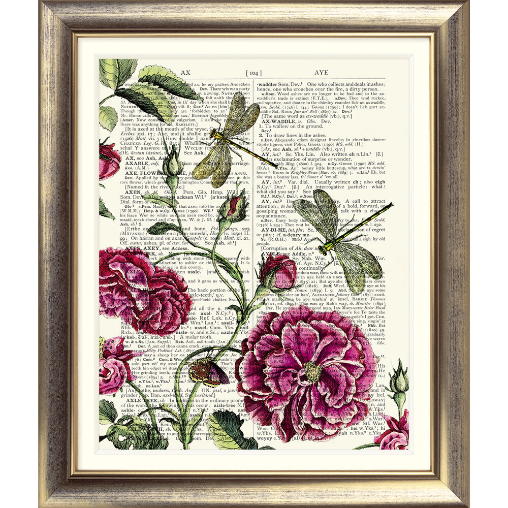 ART PRINT ON ORIGINAL ANTIQUE BOOK PAGE Rose Dragonfly ...