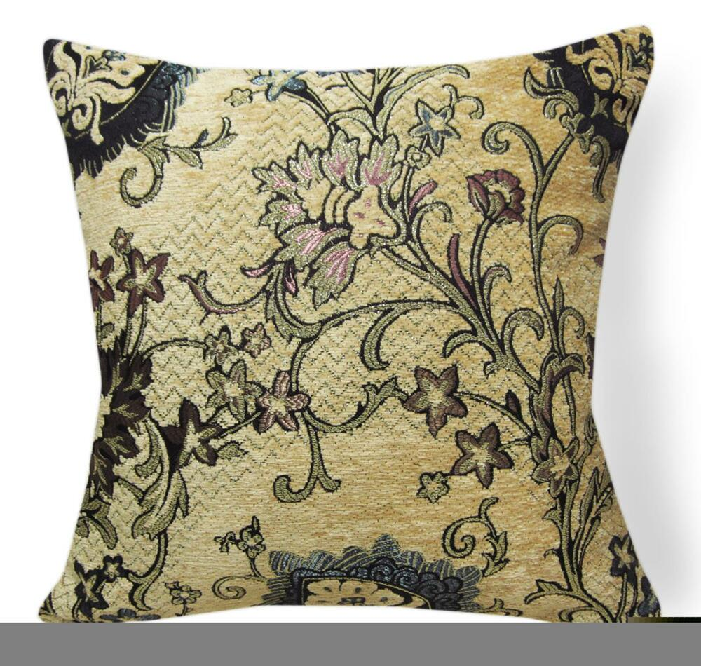 Wd45Aa Blue Flower on Tan Damask Chenille Flower Throw Cushion Cover/Pillow Case eBay