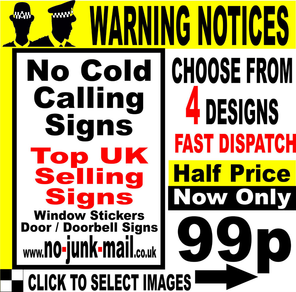 Yellow Notice On Front Door: No Cold Callers / No Calling Signs