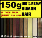 FULL HEAD CLIP IN REMY HUMAN HAIR EXTENSIONS Brown Blonde Black
