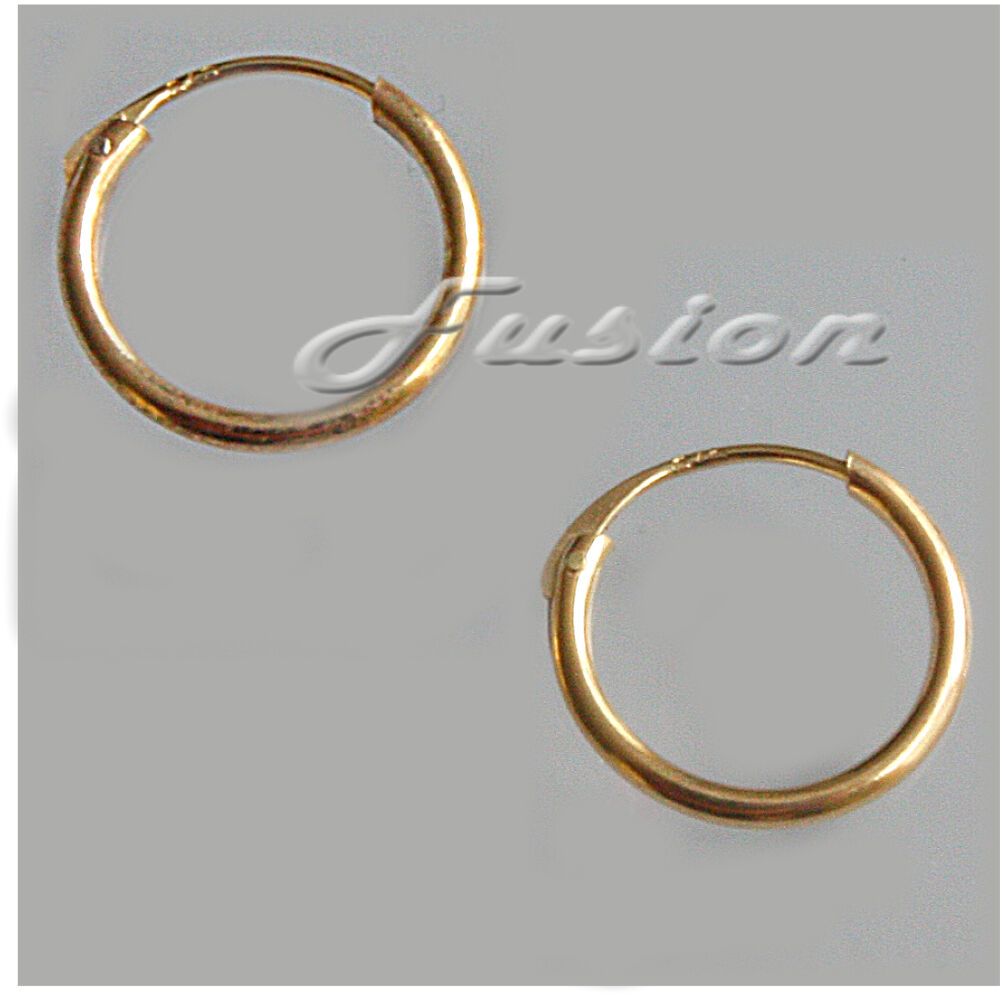 1 Pair Of Solid 9 Ct Yellow Gold 11mm Hoop Sleeper Creole