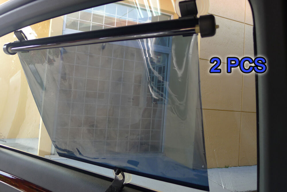 2pc Retractable Car Window Roller Sun Shade Blind