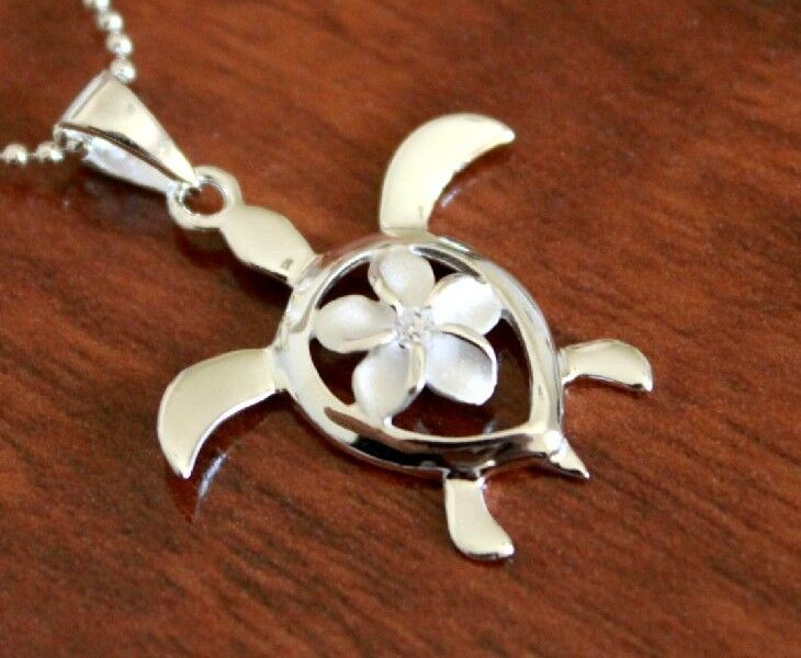 hawaiian jewelry 925 sterling silver plumeria turtle