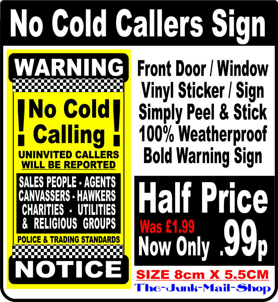 No Cold Calling Sign 85cm X 4cm External Use On Front Upvc Door