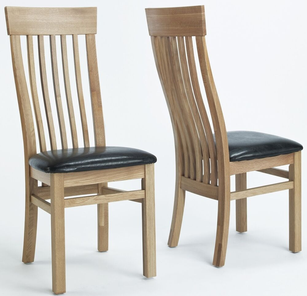 Mayfair solid oak furniture set of two leather seat dining