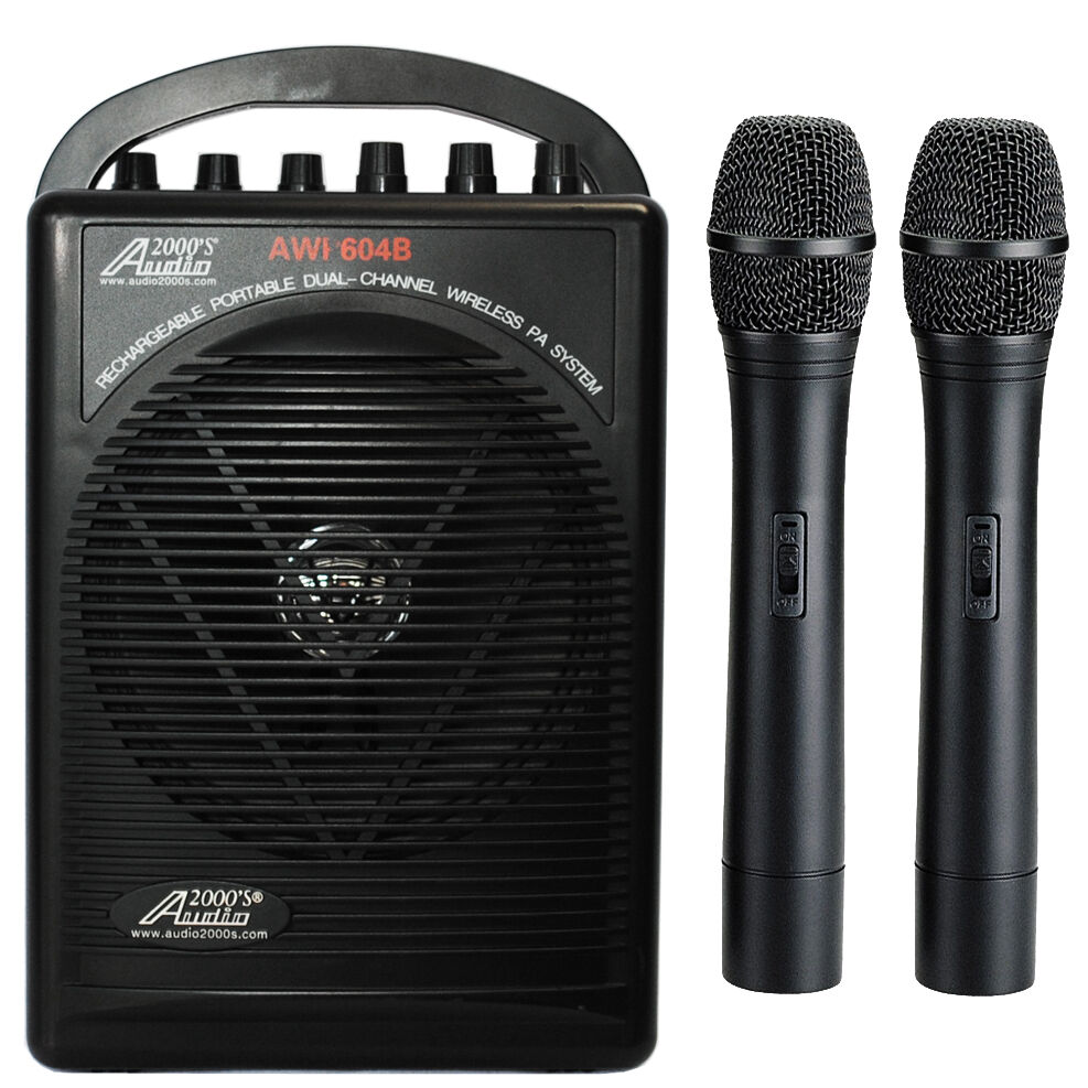Wireless Microphone System Portable : awp604bhh dual wireless microphone battery powered portable pa system 2 handheld ebay ~ Russianpoet.info Haus und Dekorationen