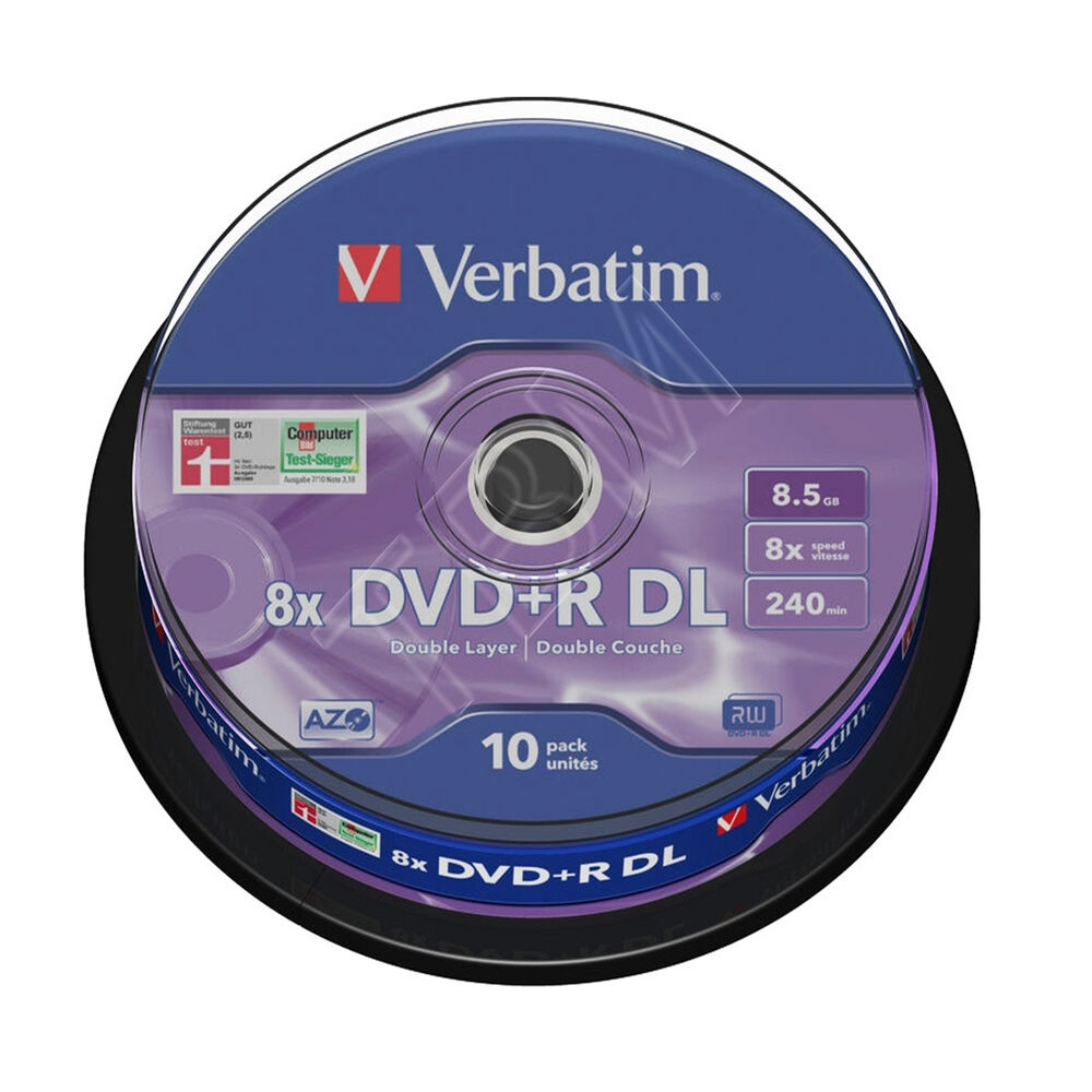 verbatim dvd r double layer 8 5gb 10 spindle 43666 dual. Black Bedroom Furniture Sets. Home Design Ideas