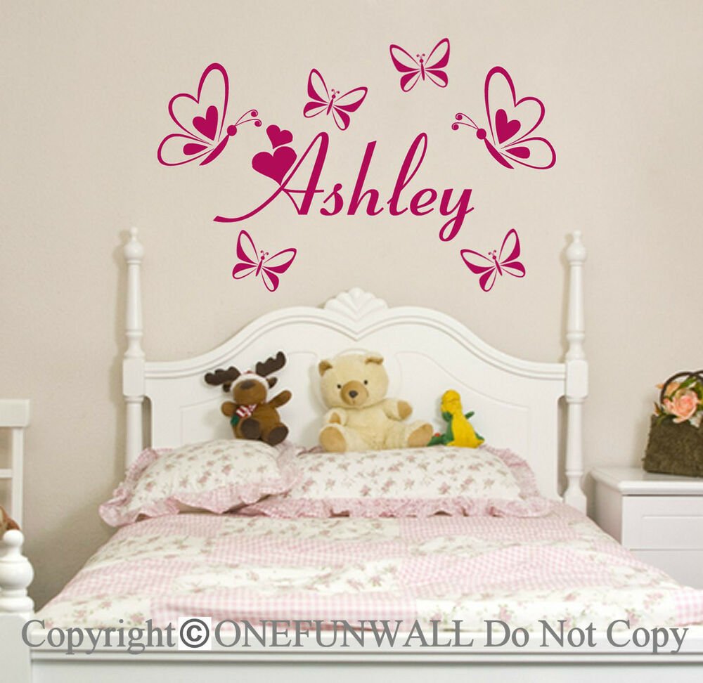 personalized name butterflies vinyl wall decal sticker. Black Bedroom Furniture Sets. Home Design Ideas