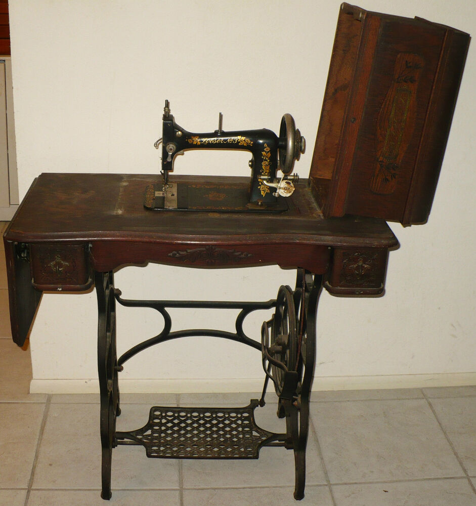 ANTIQUE LOESER NO 3 SEWING MACHINE & TREADLE TABLE SERIAL ...