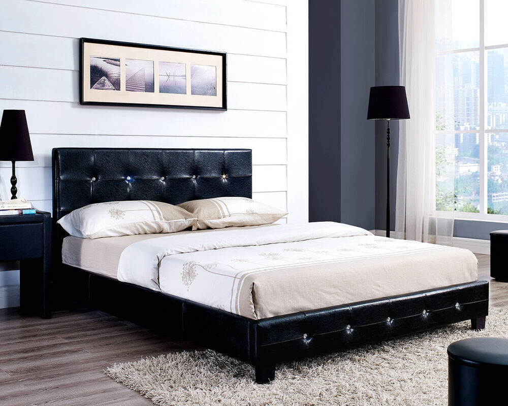 black white brown diamante bed frame faux leather and with mattress double king ebay. Black Bedroom Furniture Sets. Home Design Ideas