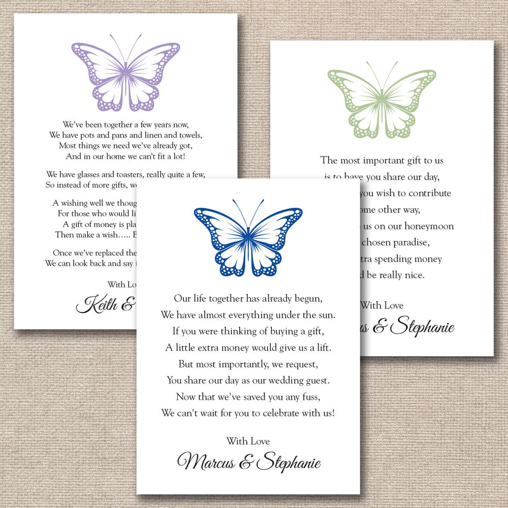 Wedding Invitation Money Gift Poem: 50 X DIY Butterfly Wedding Poem Cards For Your Invitations