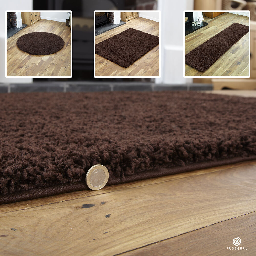 Brown Small X Extra Large Plain Rug Thick 5cm High Pile Modern Gy Rugs Ebay