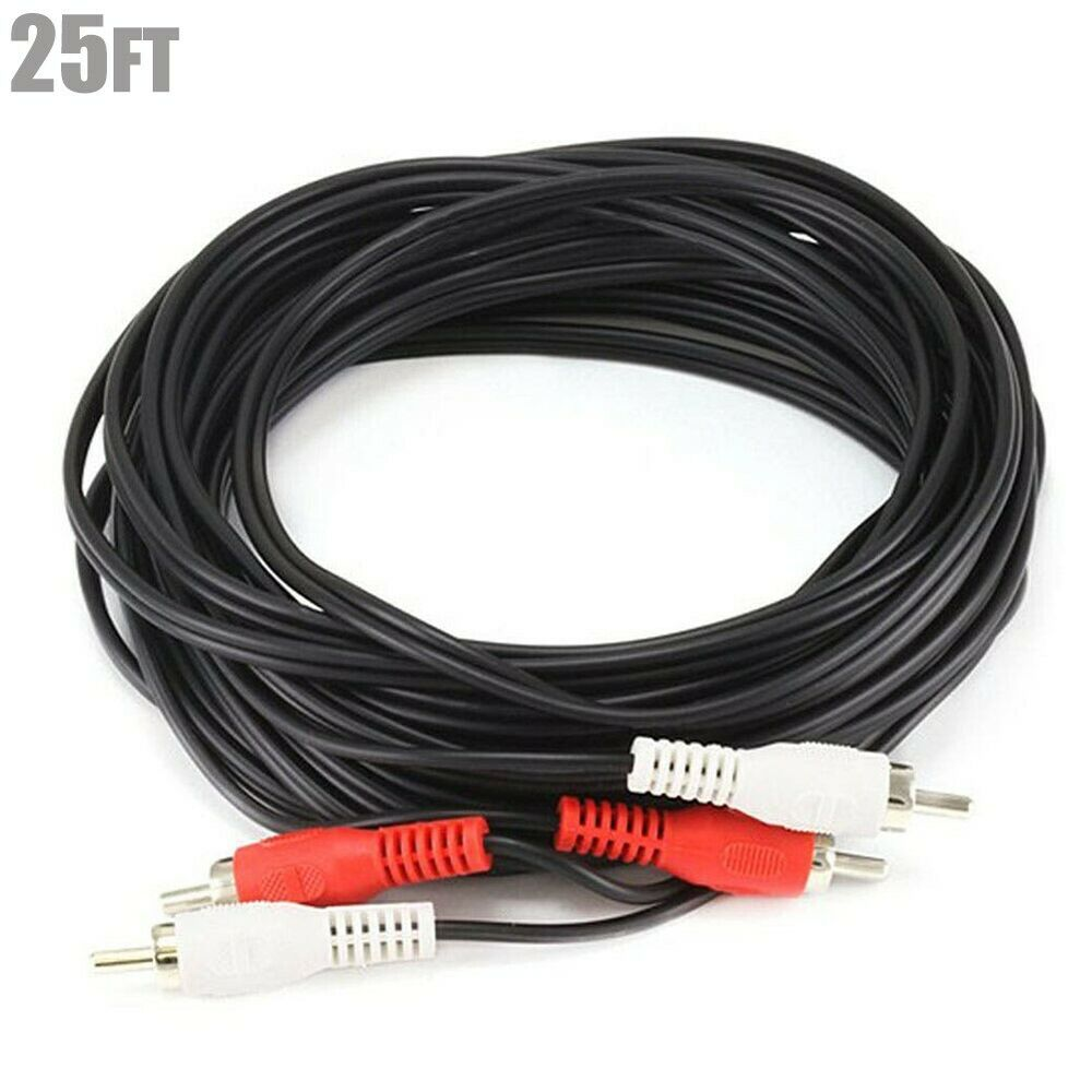 25ft 2 rca male to male m m red white l r audio cable 25 39 25 ft ebay. Black Bedroom Furniture Sets. Home Design Ideas
