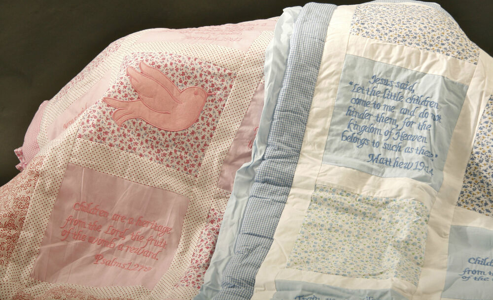 ... Embroidered Christian Baby Quilt w/ Bible Verses Pink or Blue | eBay New Baby Quotes Bible