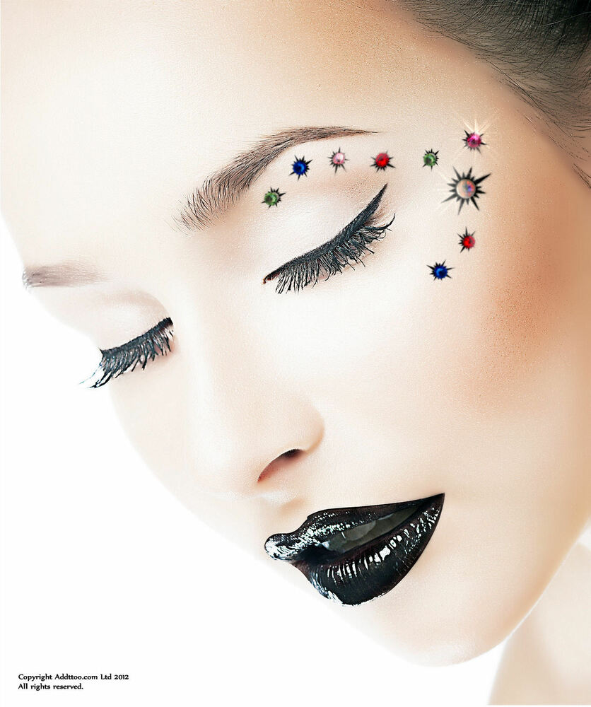 Party eyes face or body designer crystal temporary tattoo for Crystal eye tattoos