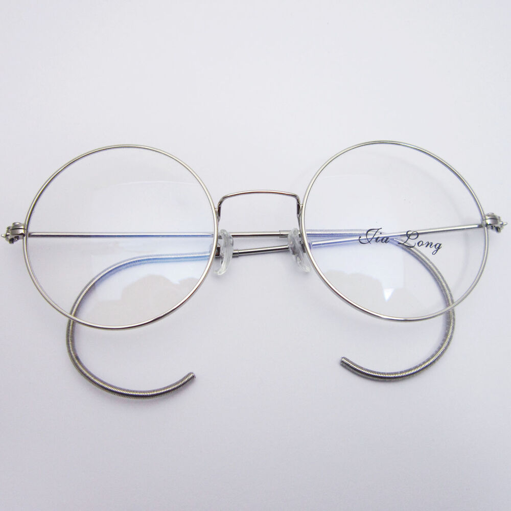 Wire Frame Glasses Vintage : 48mm Vintage Retro Antique Shiny Silver Wire Rim Round ...