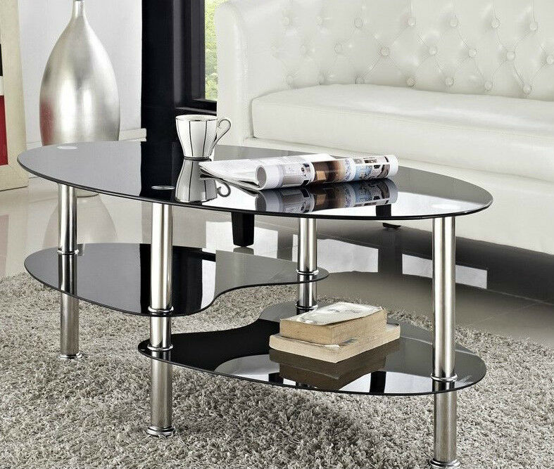 Glass Coffee Table For Sale On Ebay: Cara Coffee Table And With Or Nest Of Tables Black Clear