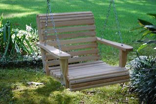 42 inch single bench porch swing cypress outdoor patio