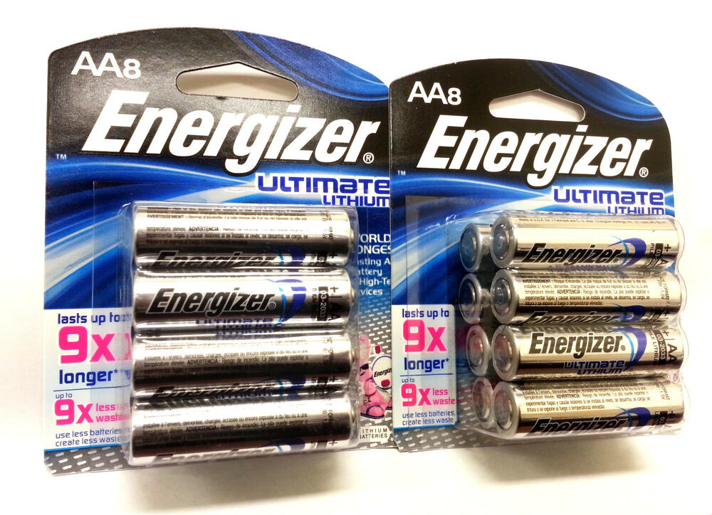lot of two energizer ultimate lithium aa 8 battery pack 16. Black Bedroom Furniture Sets. Home Design Ideas