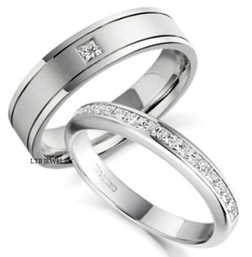 18K WHITE GOLD HIS Amp HERS MENS WOMENS WEDDING BANDS RINGS
