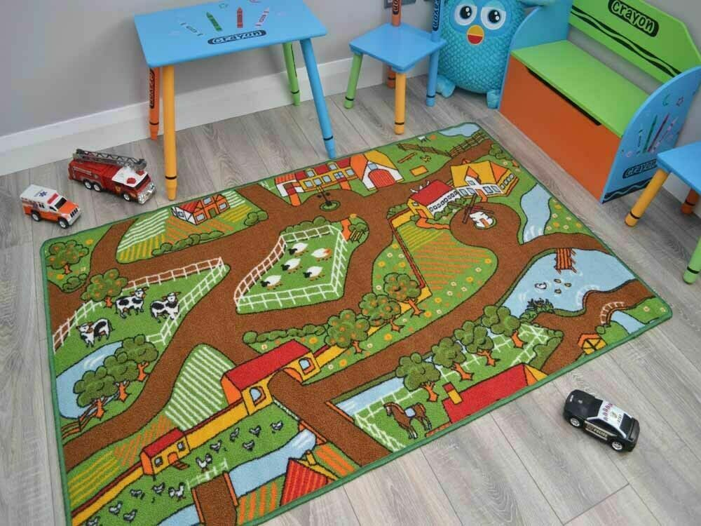 Farm Yard Playmats Boys Kids Large Play Road Field Bedroom