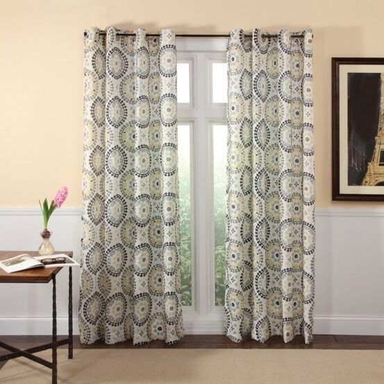 suzani grommet panel drapes charcoal grey yellow black fabric curtain pair ebay. Black Bedroom Furniture Sets. Home Design Ideas