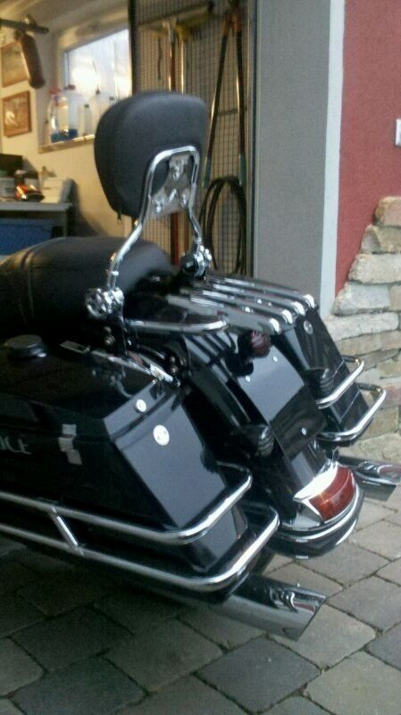 New Stealth Luggage Rack W Backrest Sissy Bar For Harley