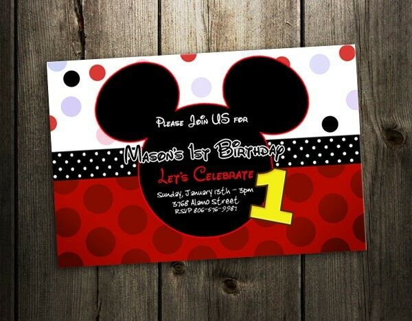 mickey mouse birthday party invitation 1st custom first invites f3 9 designs ebay