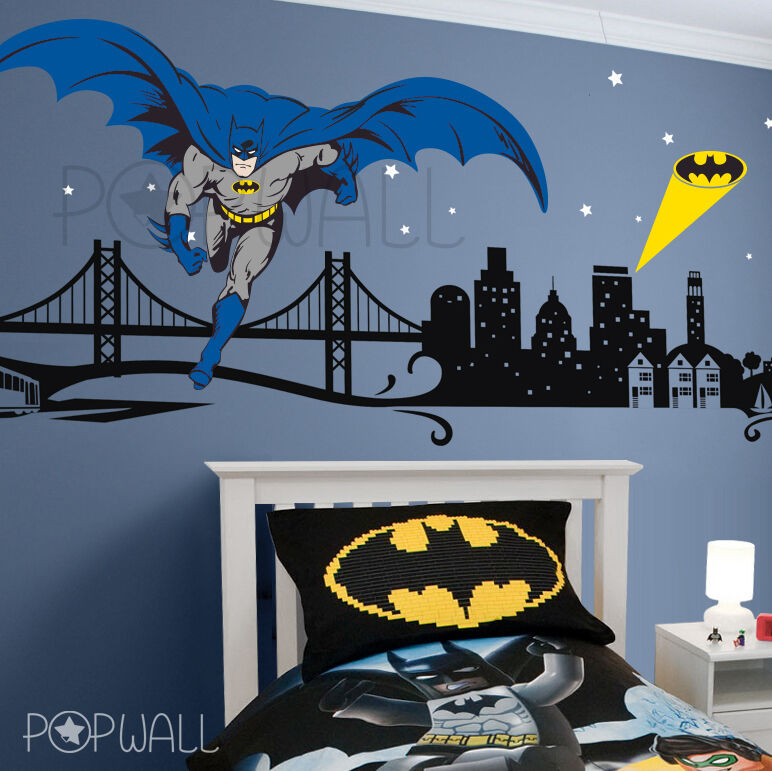 batman wall decal super hero cityscape avengers wall super hero avengers hulk wall stickers peel and stick wall
