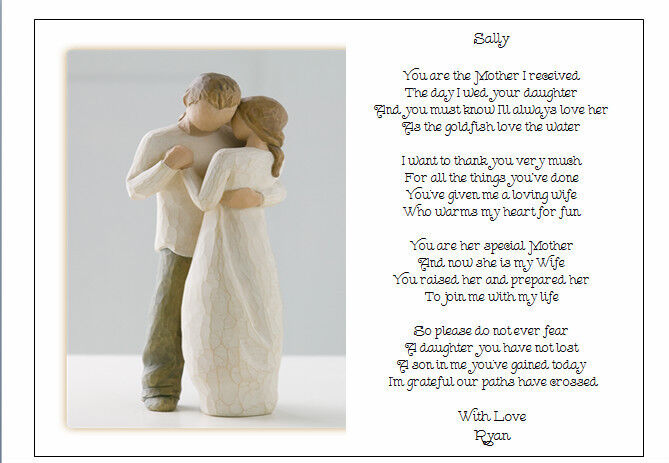 Wedding Day Gift For Bride From Mother In Law : Personalised Wedding Day Poem Gift - To the new Mother in Law of the ...