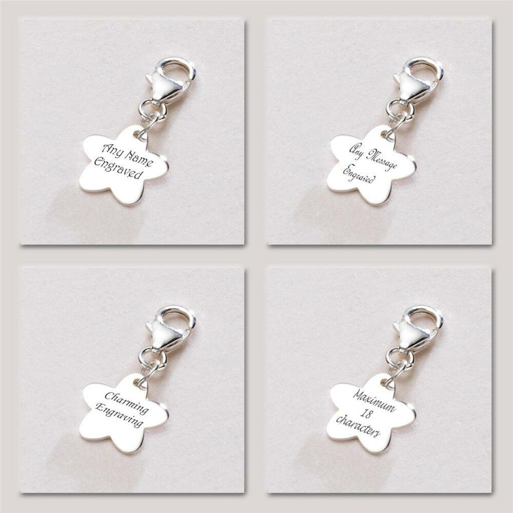 engravable sterling silver flower charm with lobster clasp