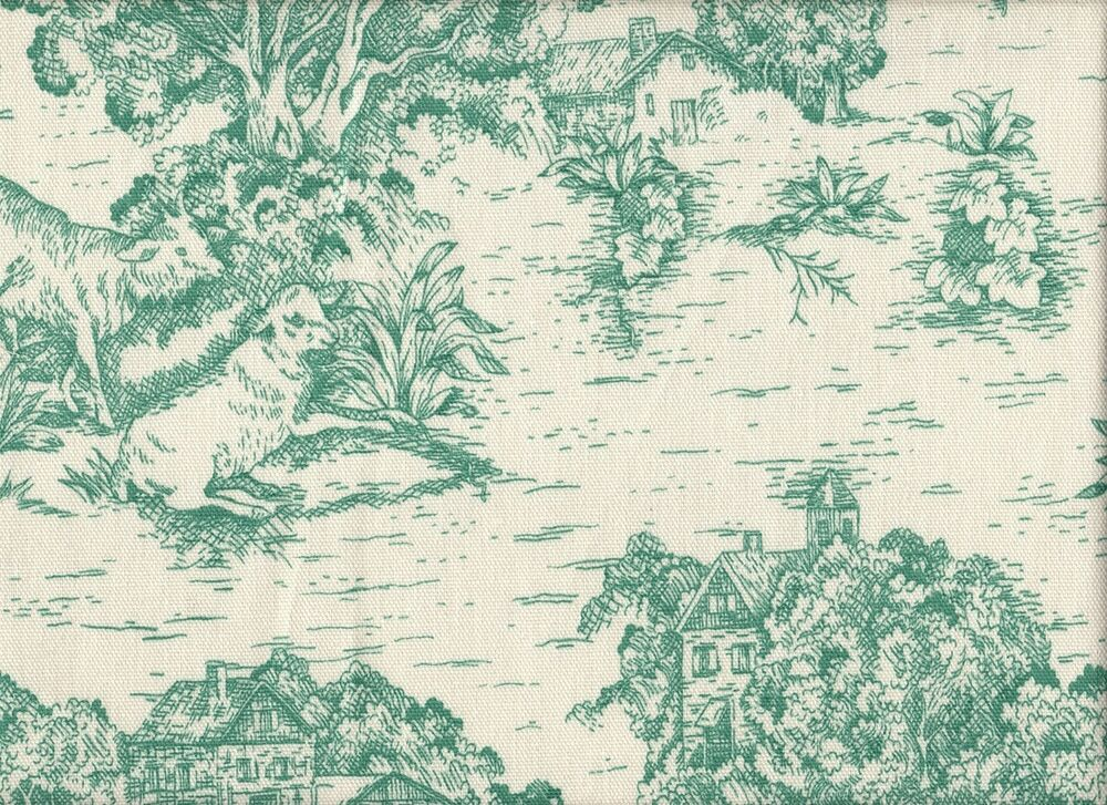 New french country toile pool blue green king skirted coverlet
