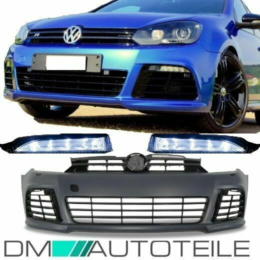 vw golf 6 vi front r line 20 style sport bumper mk6 body kit abs plastic drl ebay. Black Bedroom Furniture Sets. Home Design Ideas