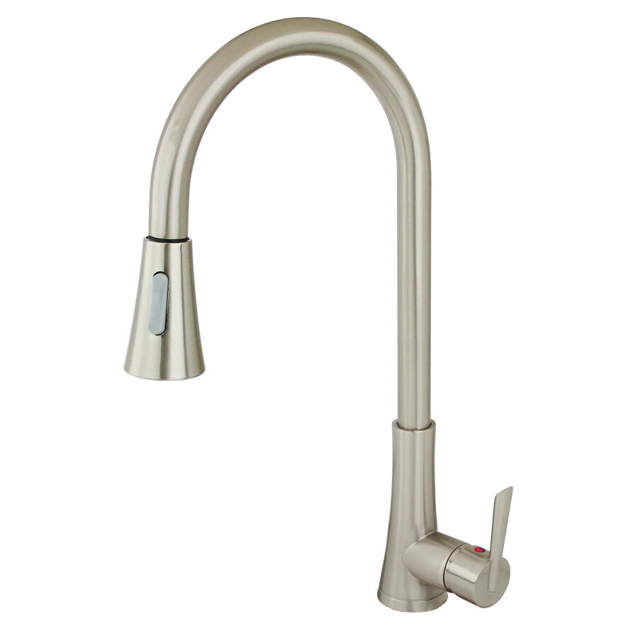 NEW 18 Euro Contemporary Brushed Nickel Kitchen Sink Faucet Pull Out Du