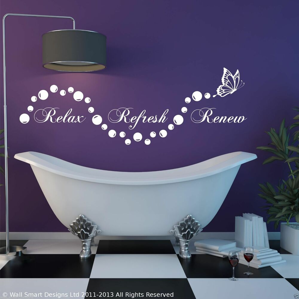 Relax bathroom bubbles en suite wall art sticker quote for Bathroom wall decor uk