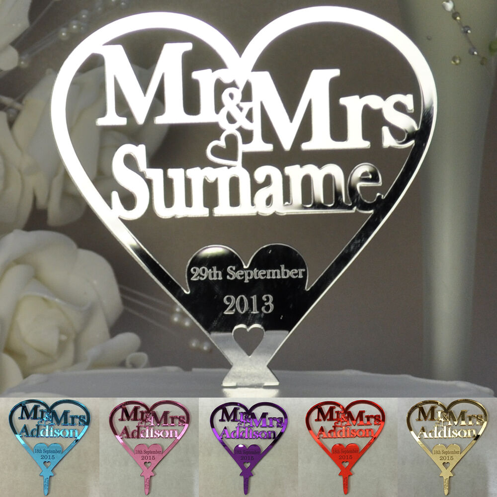 Personalised Wedding Mr Amp Mrs Heart Cake Topper Keepsake