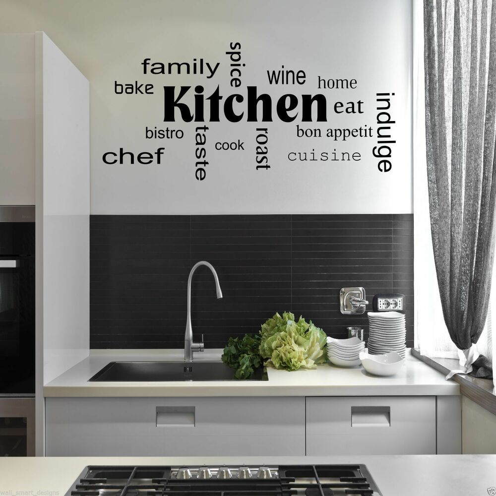 Kitchen words phrases wall sticker quote decal stencil transfer decor wsd442 ebay - Stencil per cucina ...