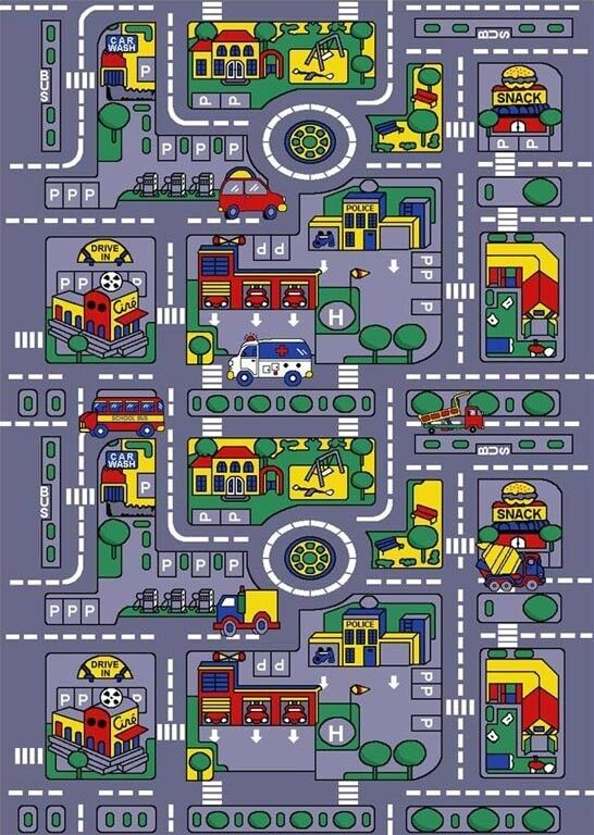 3 x 5 city map fun rug car play activity truck track for kids children non skid ebay. Black Bedroom Furniture Sets. Home Design Ideas